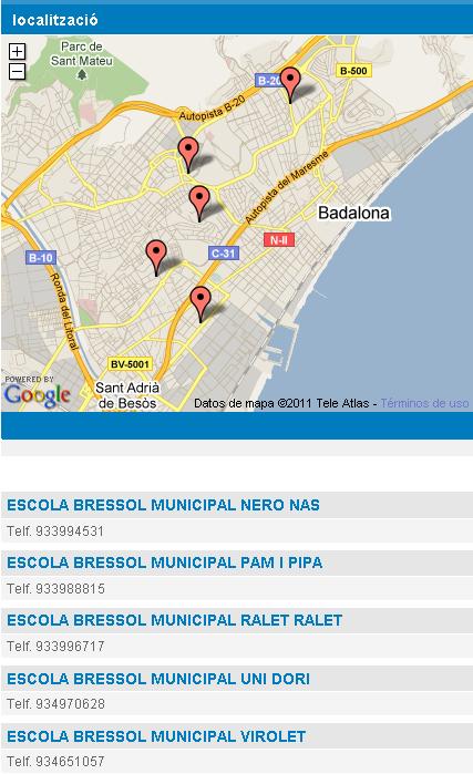 Llista d'escoles bressol municipals badalona amb mapa d'ubicació